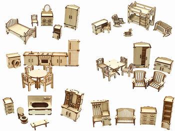 Большой набор кукольной мебели из дерева ХэппиДом 6 в 1