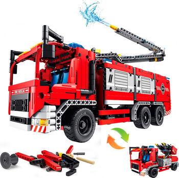 Конструктор QiHui Technic Пожарная машина 2в1 (1288 деталей, стреляет водой, пульт) - QH6805