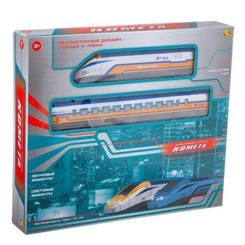 Железная дорога КОМЕТА Железнодорожный экспресс, 101см, желтый поезд, со световыми и звуковыми эффектами