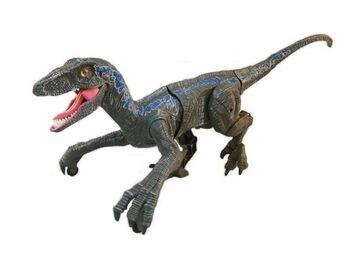 Радиоуправляемый динозавр SUNMIR Велоцираптор (синий), звук, свет