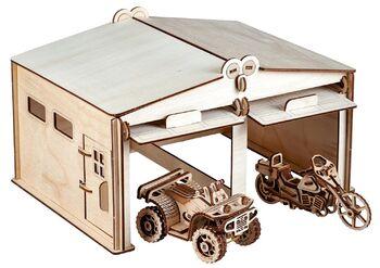 Конструктор из дерева Гараж на две машины с дверями
