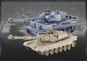 Радиоуправляемый танковый бой Zegan Tiger vs Abrams 1:28