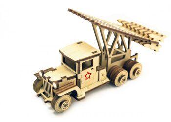 Конструктор 3D деревянный подвижный Lemmo Катюша - грузовичок-1