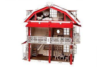 Конструктор 3D деревянный подвижный Lemmo Большой дом для кукол (красный)