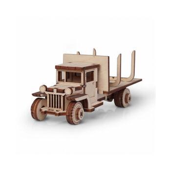 Конструктор 3D деревянный подвижный Lemmo Грузовик грузовичок 12 Лесовоз - 00-82