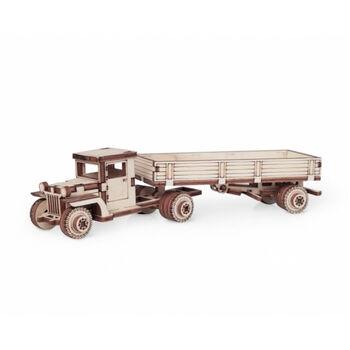 Конструктор 3D деревянный подвижный Lemmo Грузовик грузовичок с прицепом - 00-78