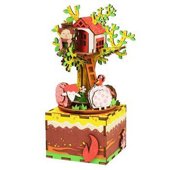 Деревянный 3D конструктор - музыкальная шкатулка Robotime Tree House - AM408