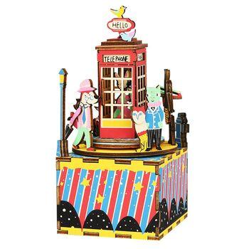 Деревянный 3D конструктор - музыкальная шкатулка Robotime AM401 Phone Booth Телефонная будка