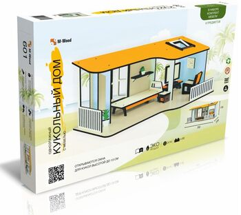 Кукольный домик M-WOOD Одноэтажный с мебелью