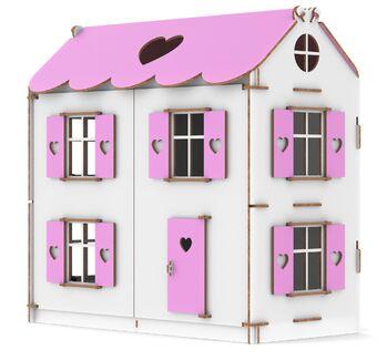 Конструктор Кукольный домик Playwood цветной (розовый)