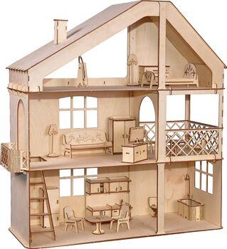 Кукольный дом ХэппиДом Гранд коттедж с верандой и мебелью из дерева